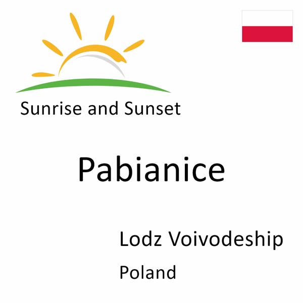 Sunrise and sunset times for Pabianice, Lodz Voivodeship, Poland