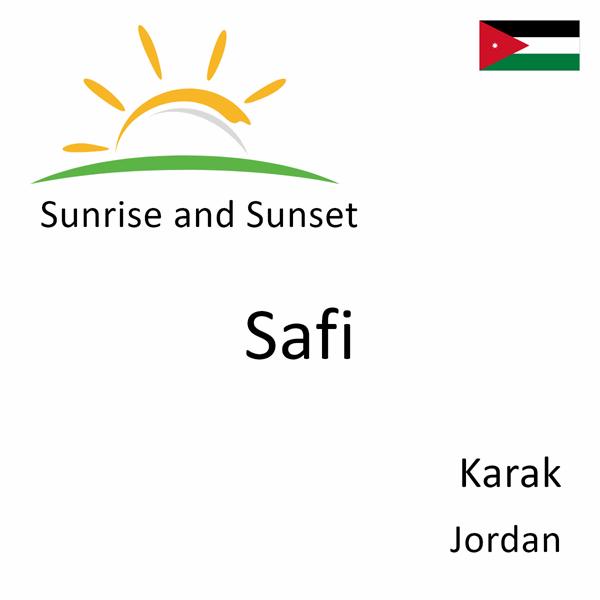 Sunrise and sunset times for Safi, Karak, Jordan