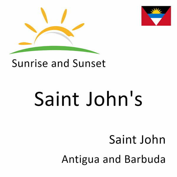 Sunrise and sunset times for Saint John's, Saint John, Antigua and Barbuda