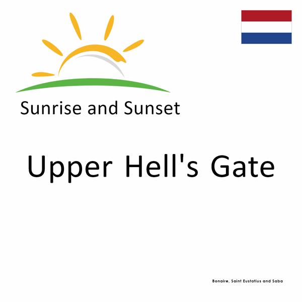 Sunrise and sunset times for Upper Hell's Gate, Bonaire, Saint Eustatius and Saba