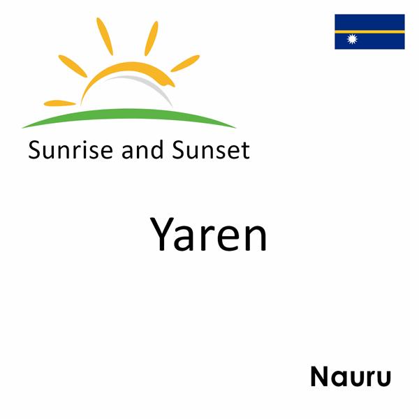 Sunrise and sunset times for Yaren, Nauru
